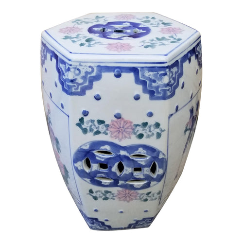 Vintage Chinese Hexagonal Ceramic Garden Stool in Pastels