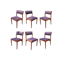 Load image into Gallery viewer, Vintage Danish Modern Style Set of 6 Teak D-Scan Upholstered Dining Chairs