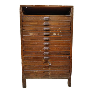 SOLD - Vintage Industrial Primitive Flat File Letterpress Cabinet in Perfectly Patinated Chippy Brown Finish