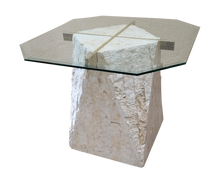 Load image into Gallery viewer, Tesellated Stone Travertine, Brass, and Glass Postmodern Side Table