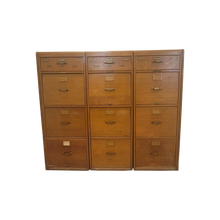 Load image into Gallery viewer, Antique Bank of 3 Quartersawn Blonde Tiger Oak Filing Cabinets