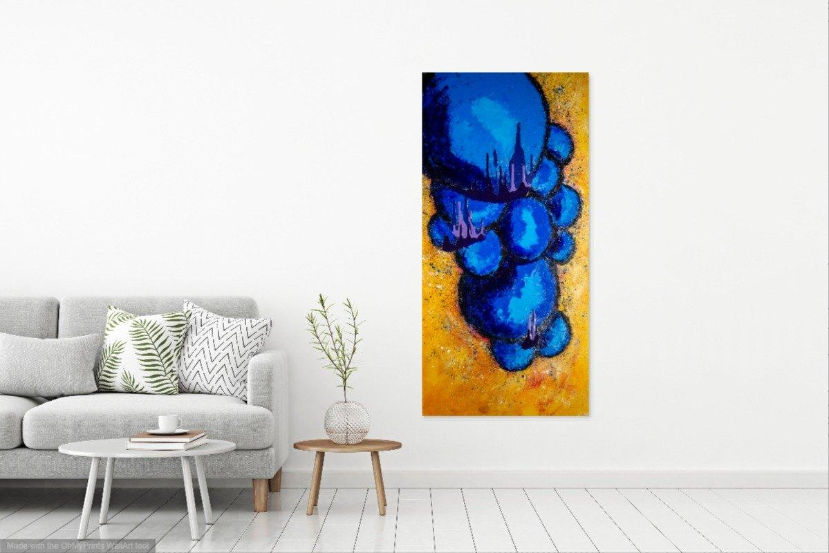 'Fig Leaf, in Blue' Original Abstract Painting Painting Joseph Dixon