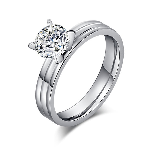 STEELTIGRESS™ Everything Stainless Steel Womens Engagement Ring - 4mm *Bling!* - Spendarella™