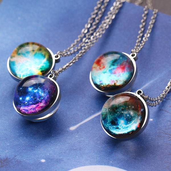 STEELTIGRESS™ Nebula Glass Pendant & Chain Jewellery Set *Bling!* - Spendarella™