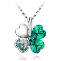 TEMPTO Four-Leaf Clover Austrian Crystal Pendant & Necklace Jewellery Set - Silver/Crystal Green