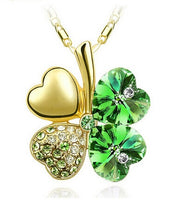 TEMPTO Four-Leaf Clover Austrian Crystal Pendant & Necklace Jewellery Set - Gold/Dark Green