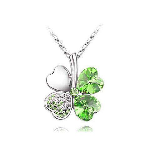 TEMPTO Four-Leaf Clover Austrian Crystal Pendant & Necklace Jewellery Set *Bling!*