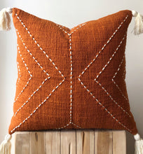 Load image into Gallery viewer, Burnt orange boho cushion Aztec House