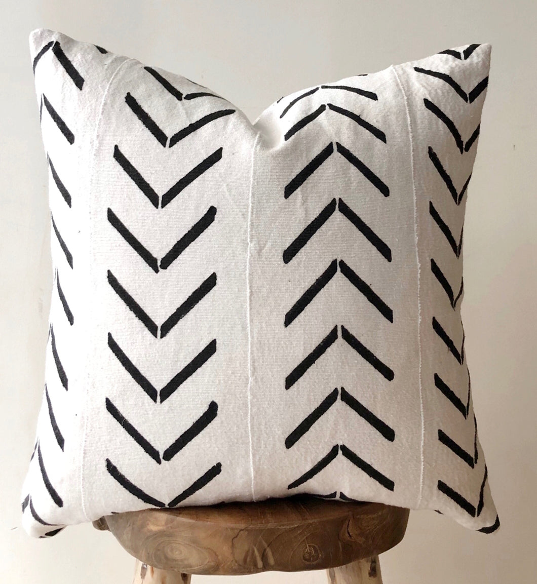 Black and white mudcloth cushion Aztec House