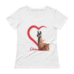Ladies' Scoopneck T-Shirt - Mocha- Llamaste