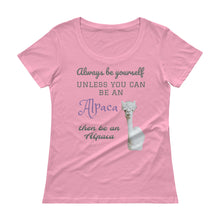 Load image into Gallery viewer, Ladies' Scoopneck T-Shirt - Be an Alpaca