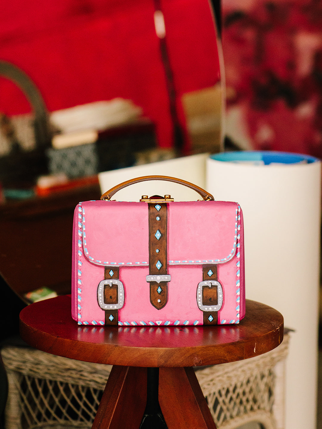 Sophie Matisse x Mark Cross Grace Small Leather Box Bag Smooth Calf Luggage / Pink Model