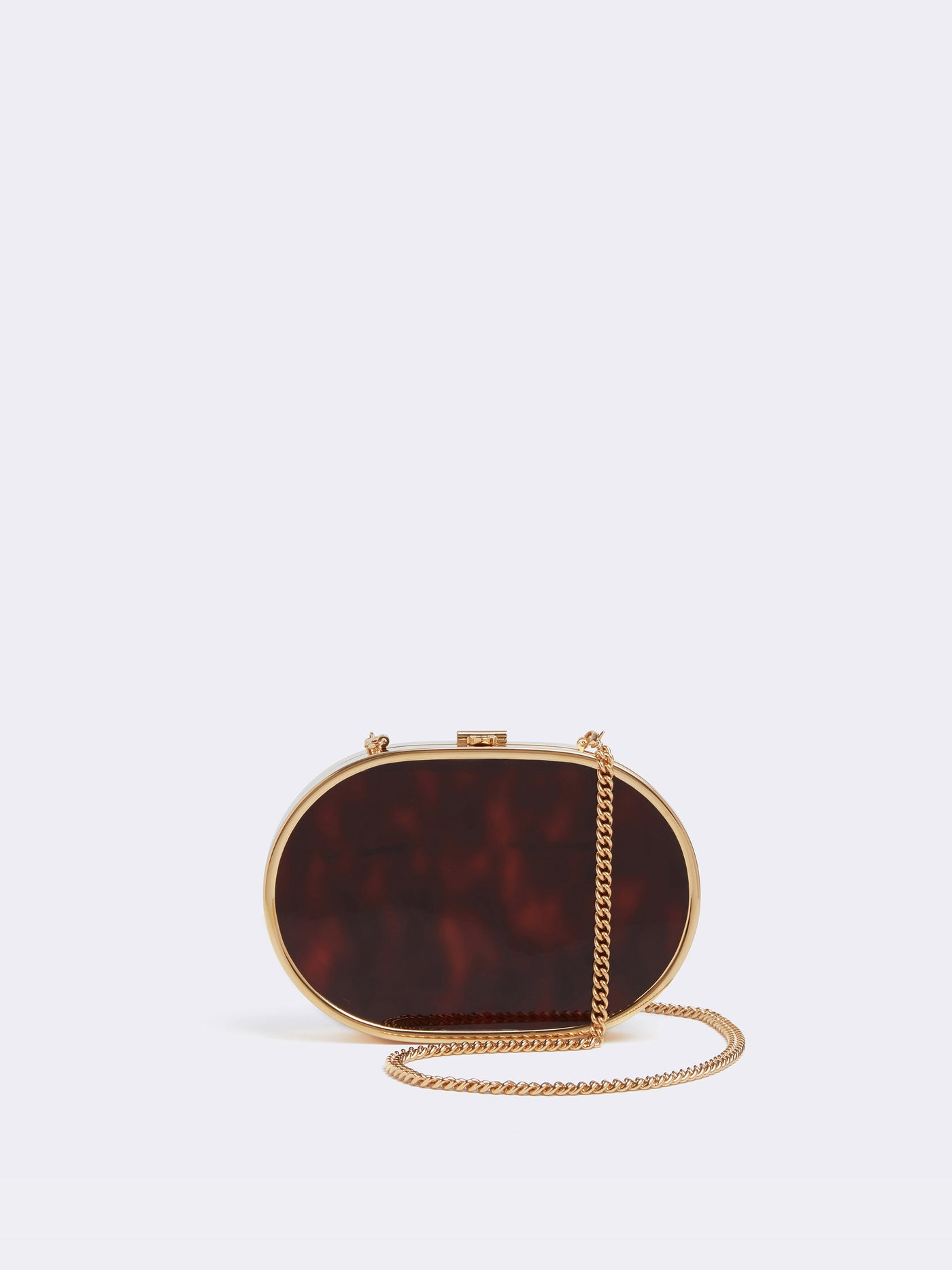 Mark Cross Gabriella Brass and Resin Clutch Tortoise Resin Front