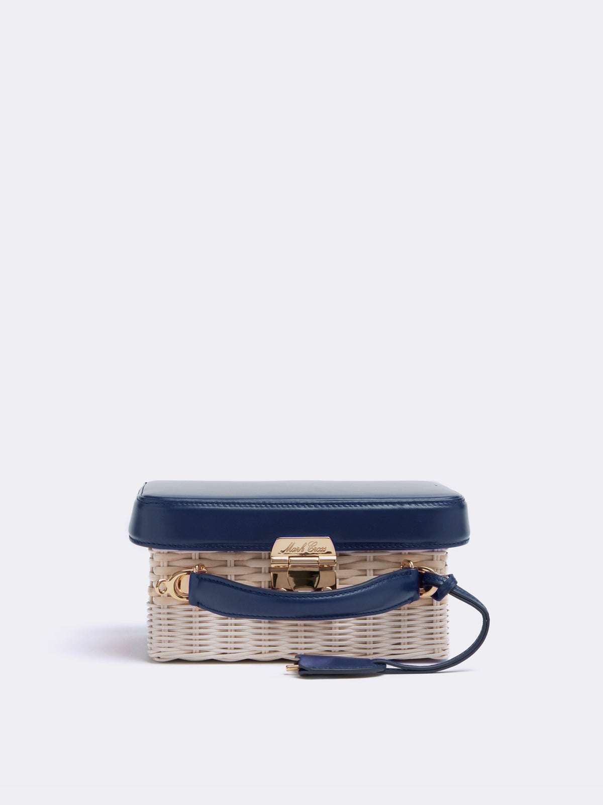 Mark Cross Grace Small Rattan & Leather Box Bag Smooth Calf Navy / Bleach Rattan Side