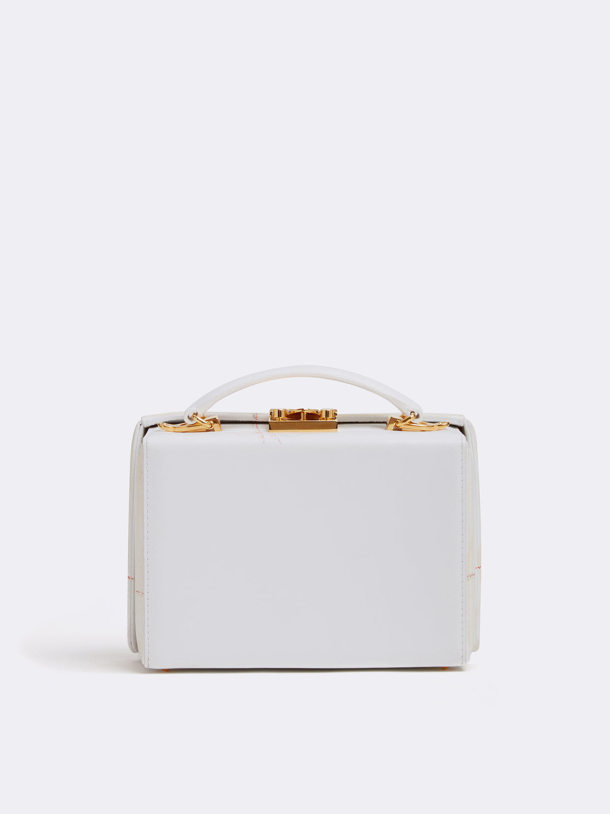 Sophie Matisse x Mark Cross Grace Small Leather Box Bag Smooth Calf White / Letter Back