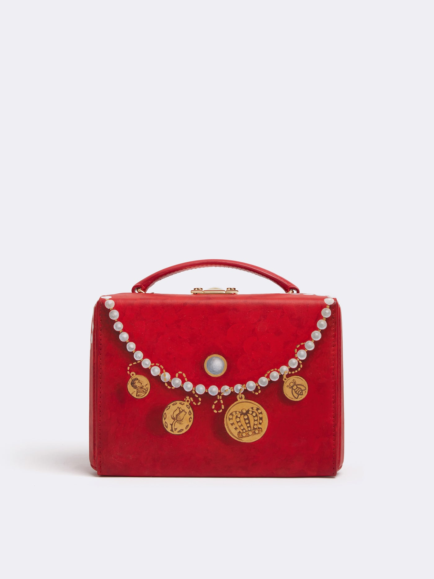 Sophie Matisse x Mark Cross Grace Small Leather Box Bag Smooth Calf MC Red / Pearl Front