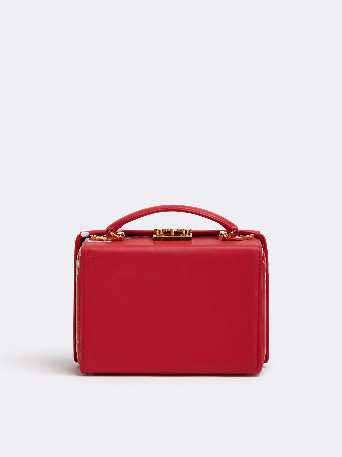 Sophie Matisse x Mark Cross Grace Small Leather Box Bag Smooth Calf MC Red / Pearl Back