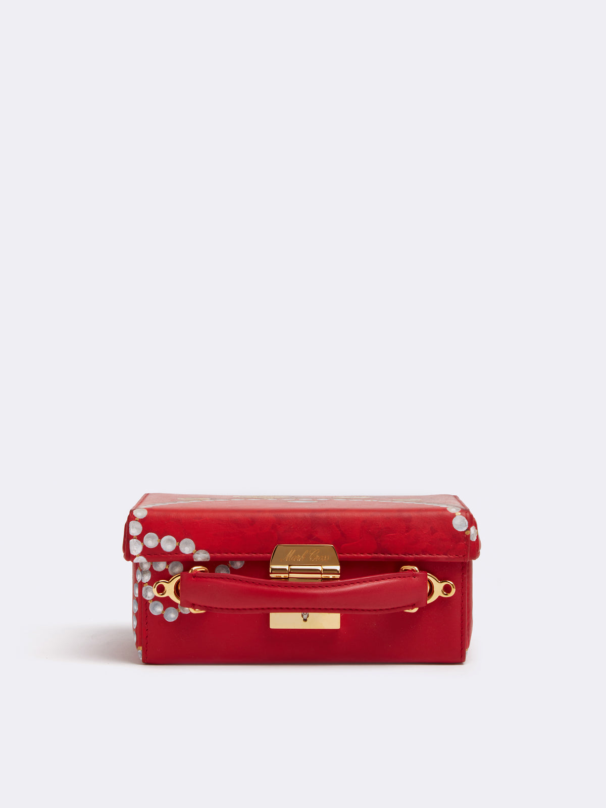 Sophie Matisse x Mark Cross Grace Small Leather Box Bag Smooth Calf MC Red / Pearl Side