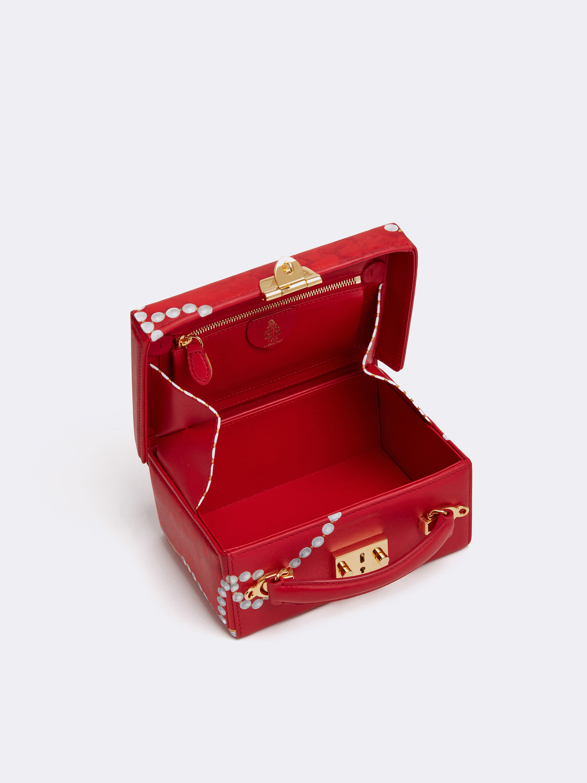 Sophie Matisse x Mark Cross Grace Small Leather Box Bag Smooth Calf MC Red / Pearl Interior