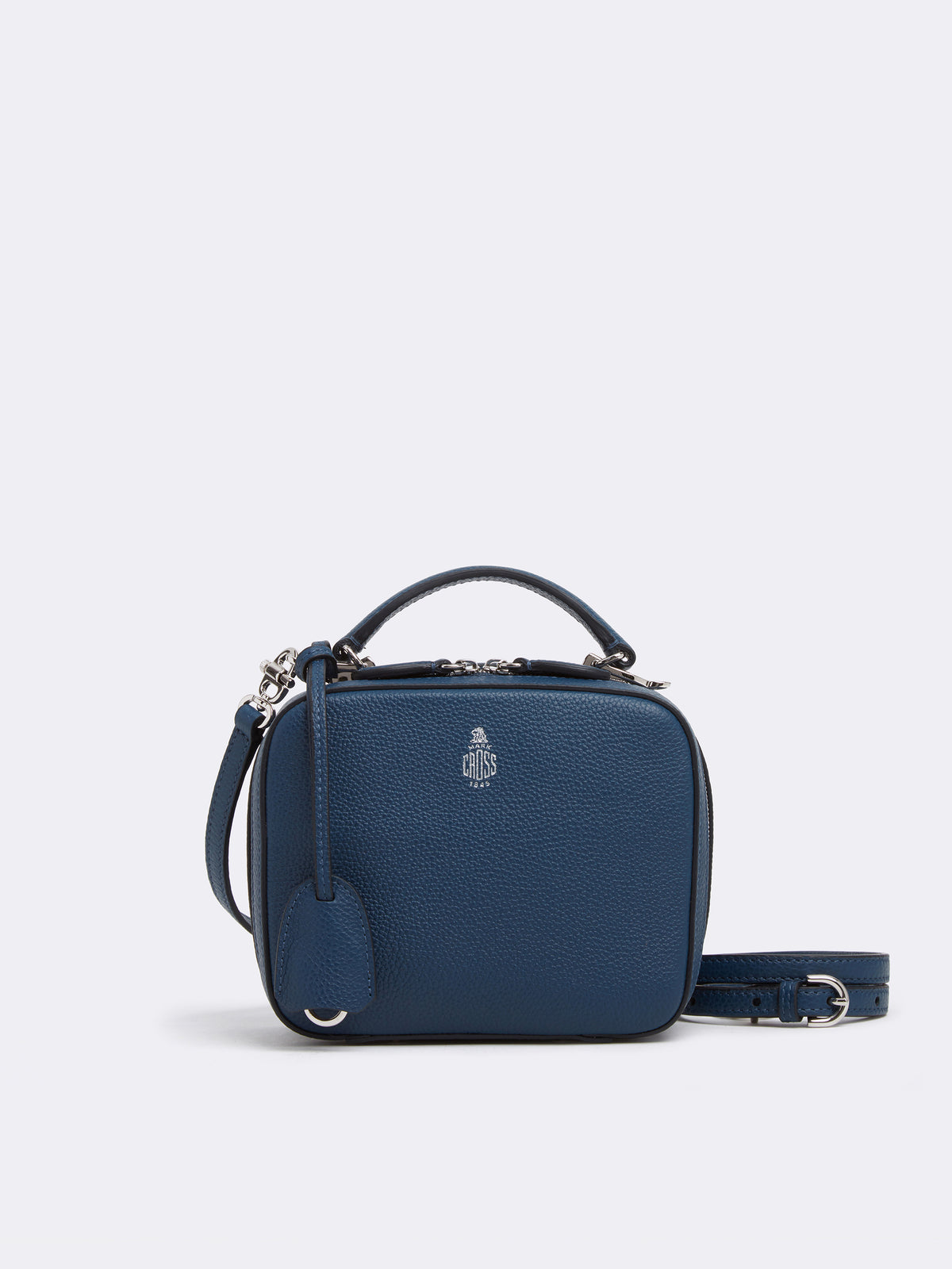 Mark Cross Baby Laura Leather Crossbody Bag Tumbled Grain Navy Front