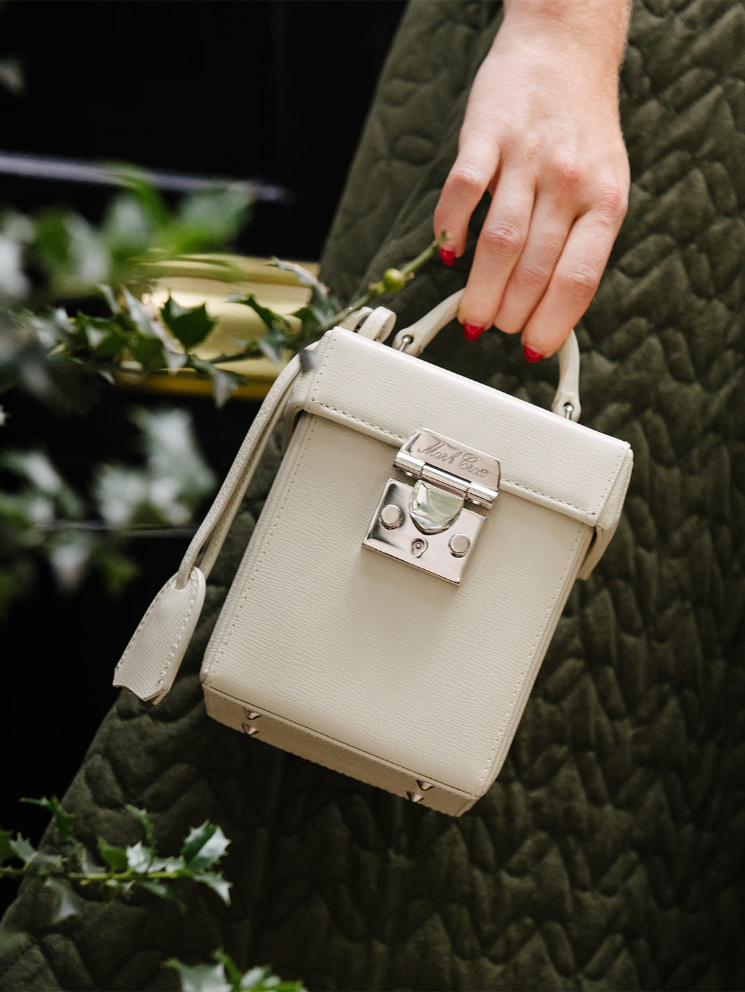 Mark Cross Grace Cube Leather Box Bag Mini Franzi Winter White Model