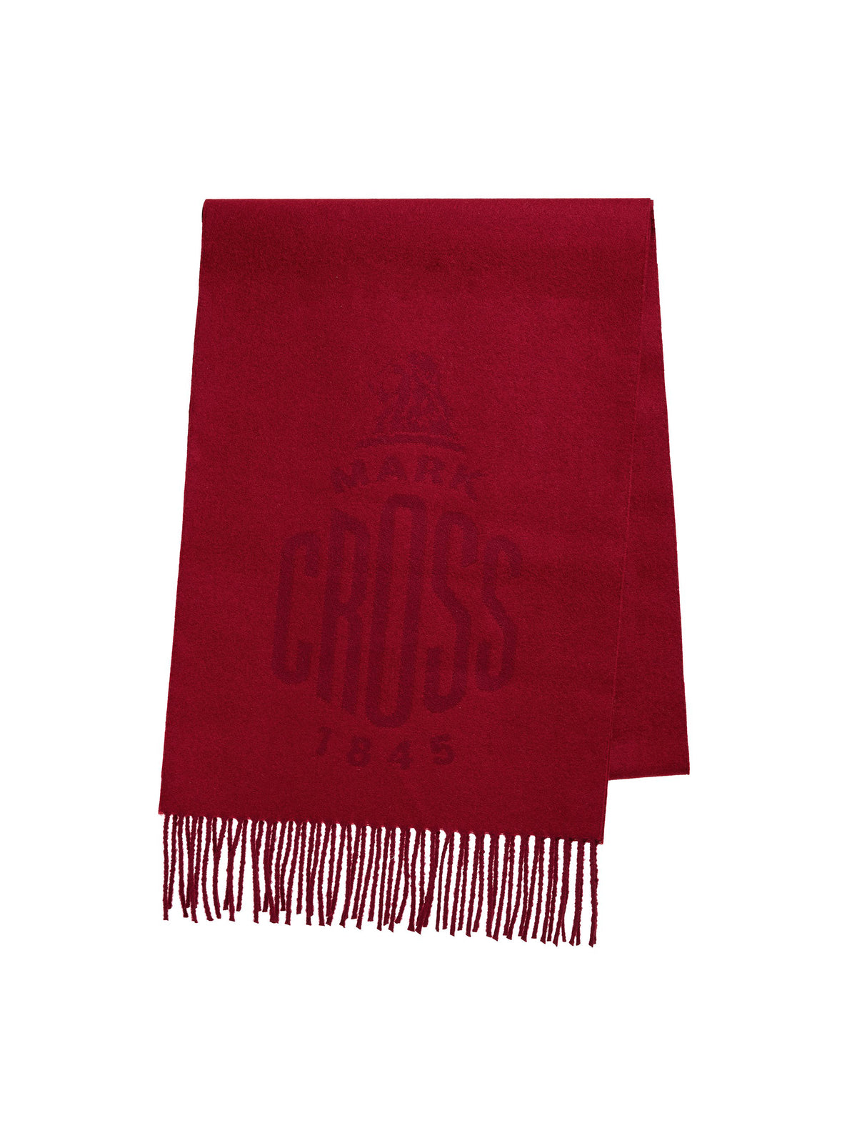 Mark Cross Beacon Wool Scarf Mc Red Burgundy Front
