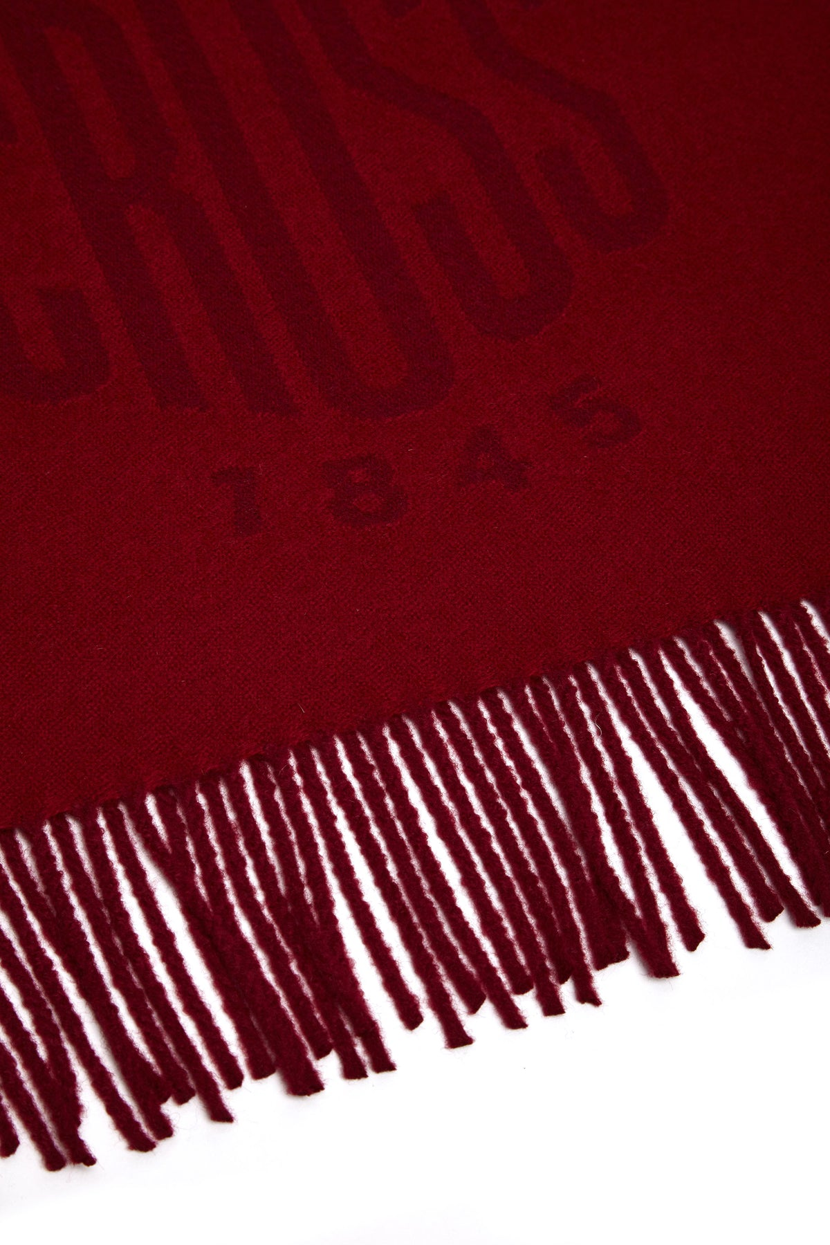 Mark Cross Beacon Wool Scarf Mc Red Burgundy Detail