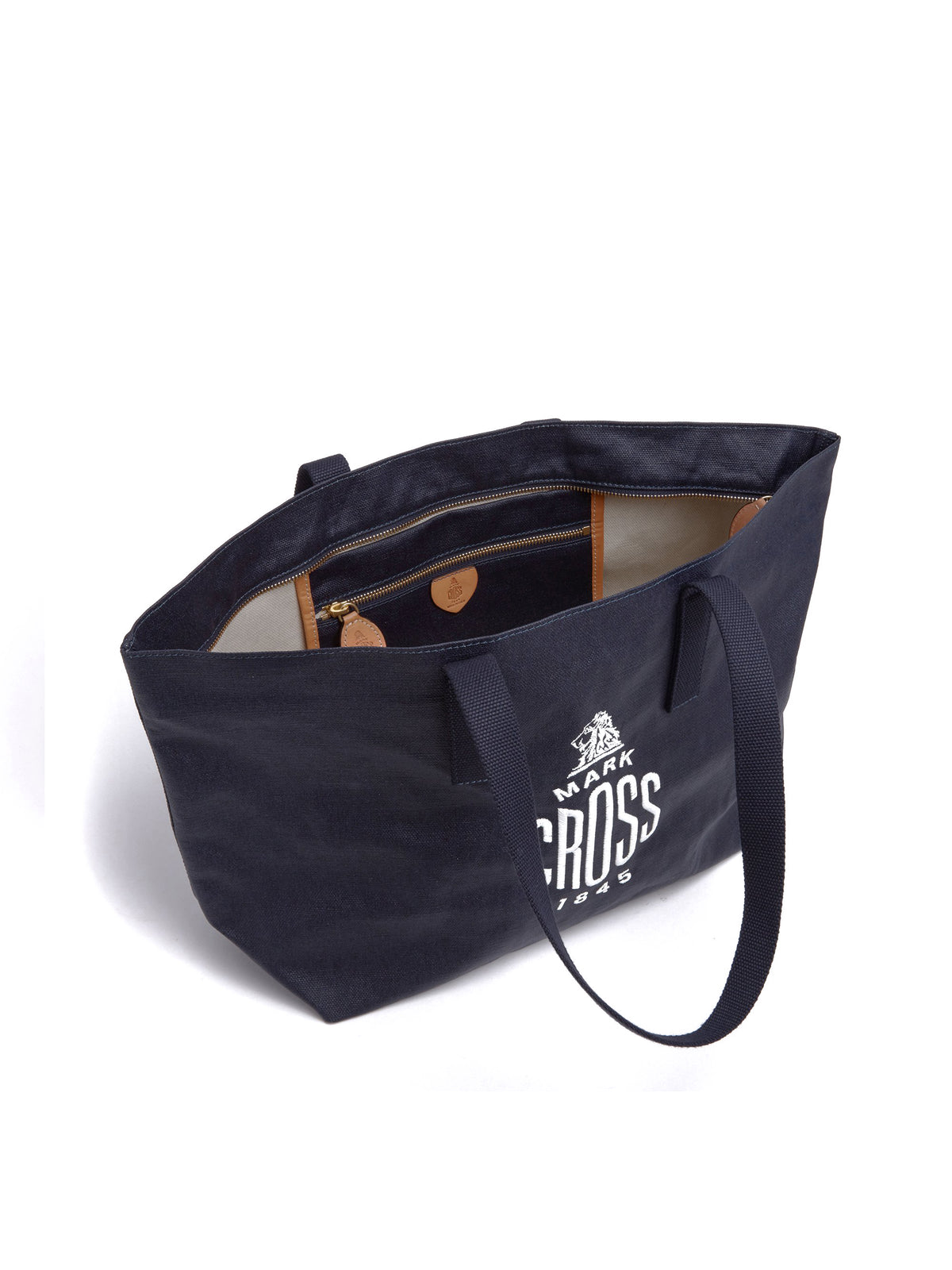 Mark Cross Weatherbird Canvas Small Tote Bag Canvas Navy Interior