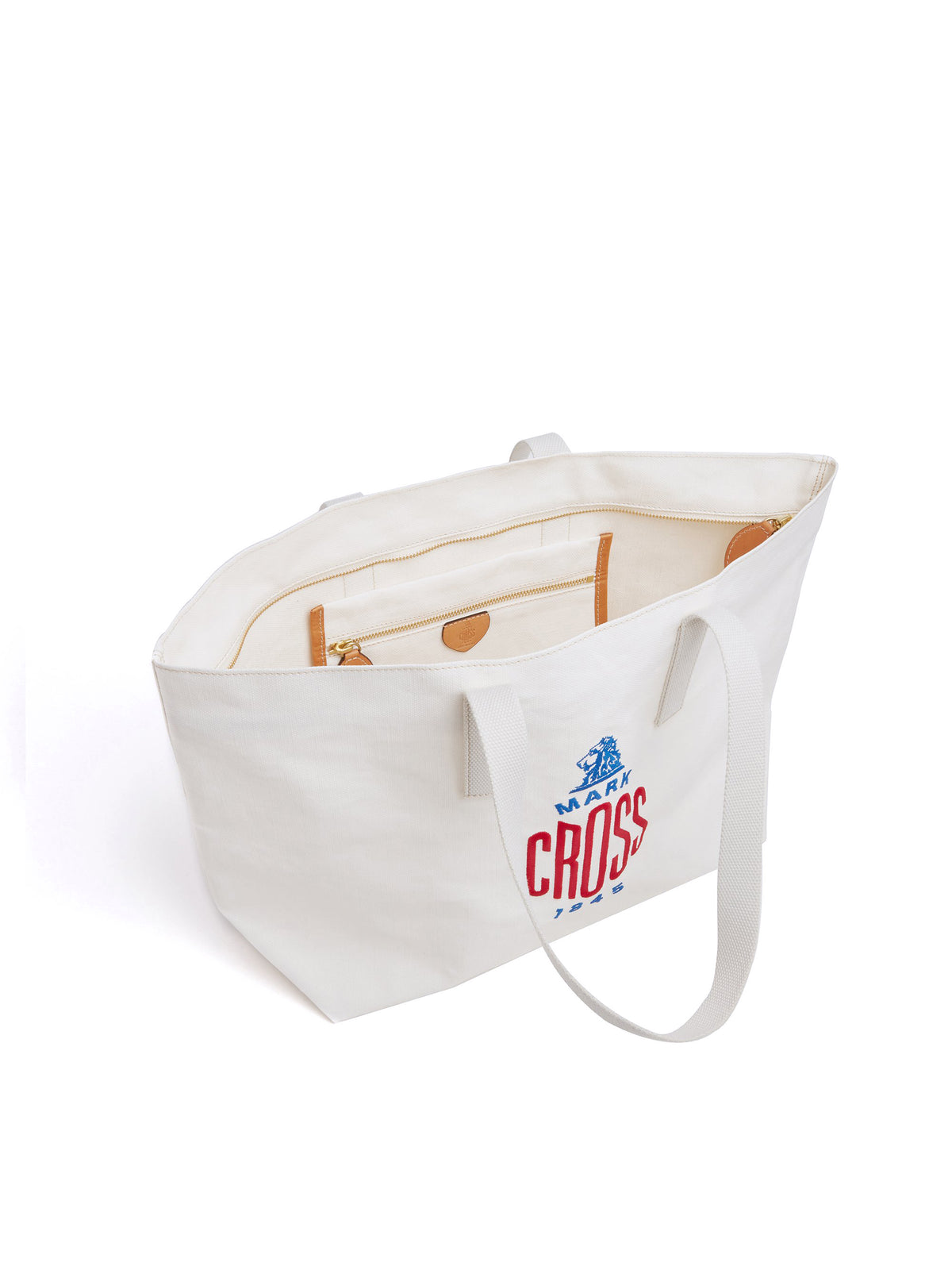 Mark Cross Weatherbird Canvas Small Tote Bag Canvas White Interior
