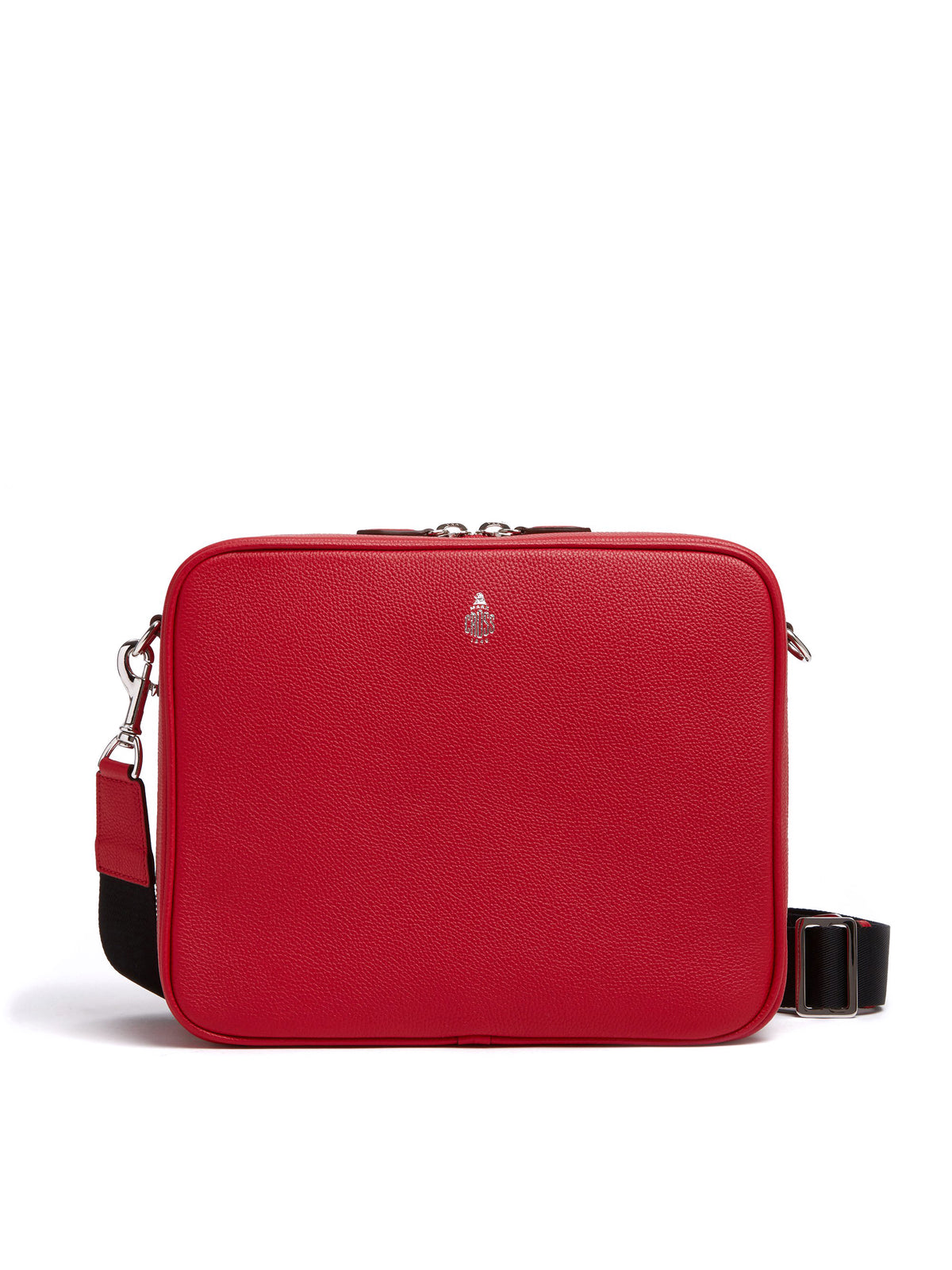 Mark Cross Baker Leather Messenger Bag Tumbled Grain Mc Red Front