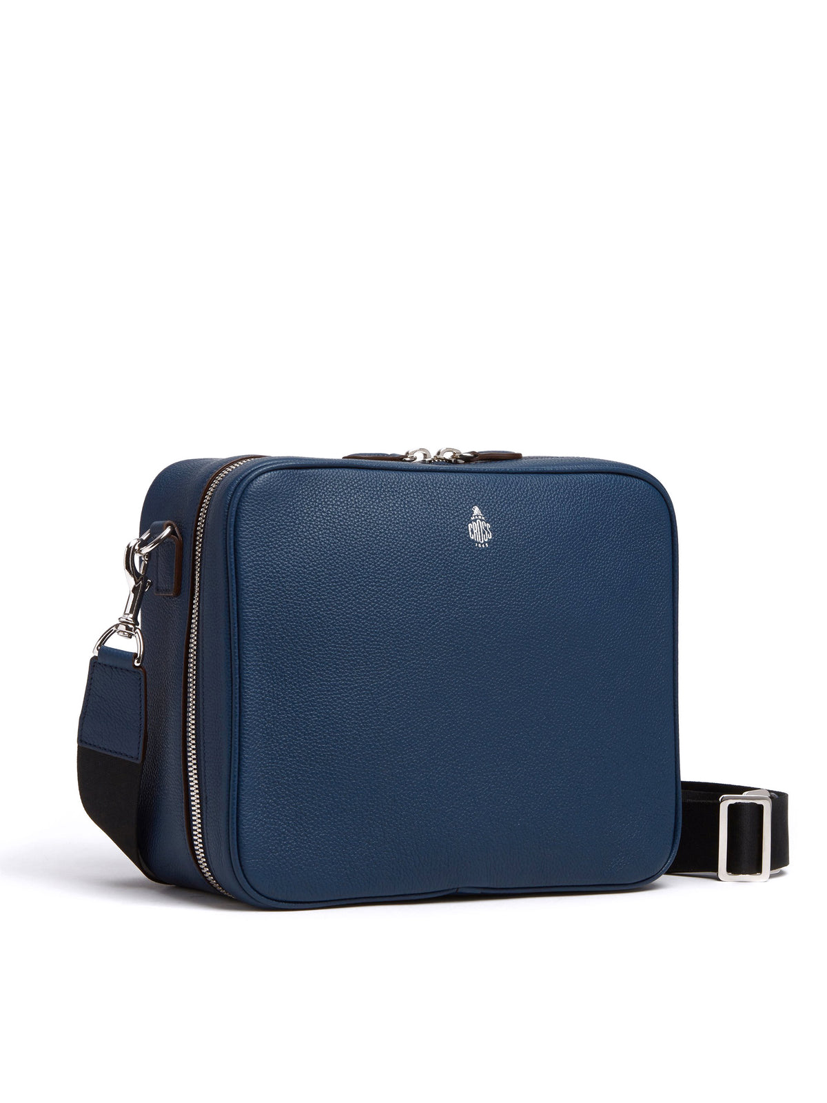 Mark Cross Baker Leather Messenger Bag Tumbled Grain Navy Side