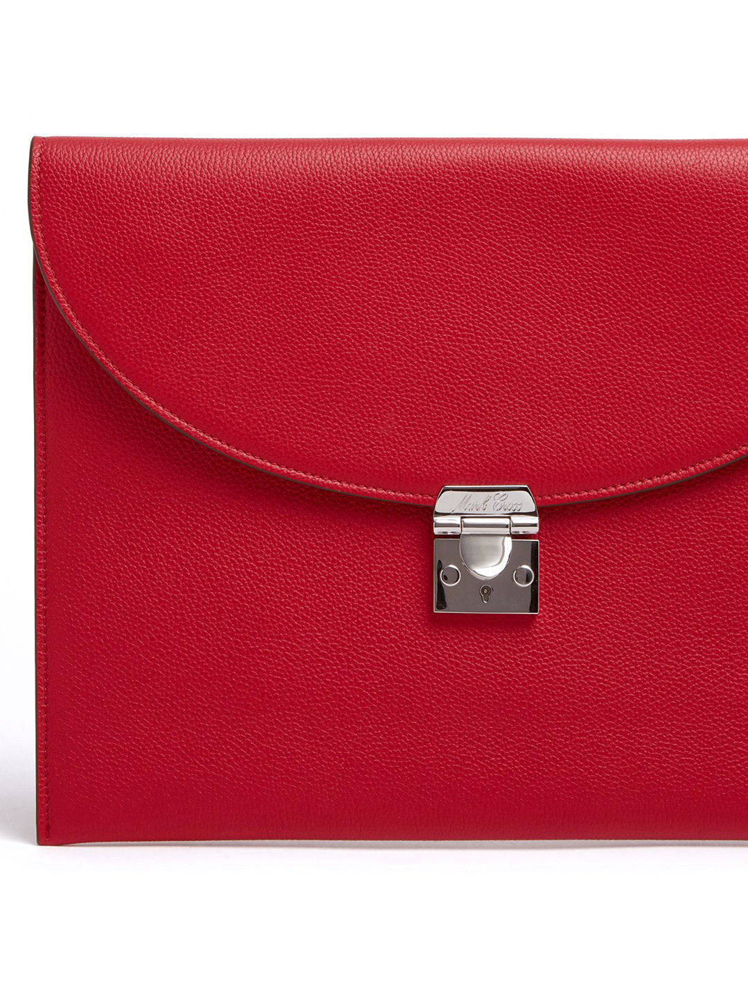 Mark Cross Diver Leather Folio Tumbled Grain Mc Red Detail