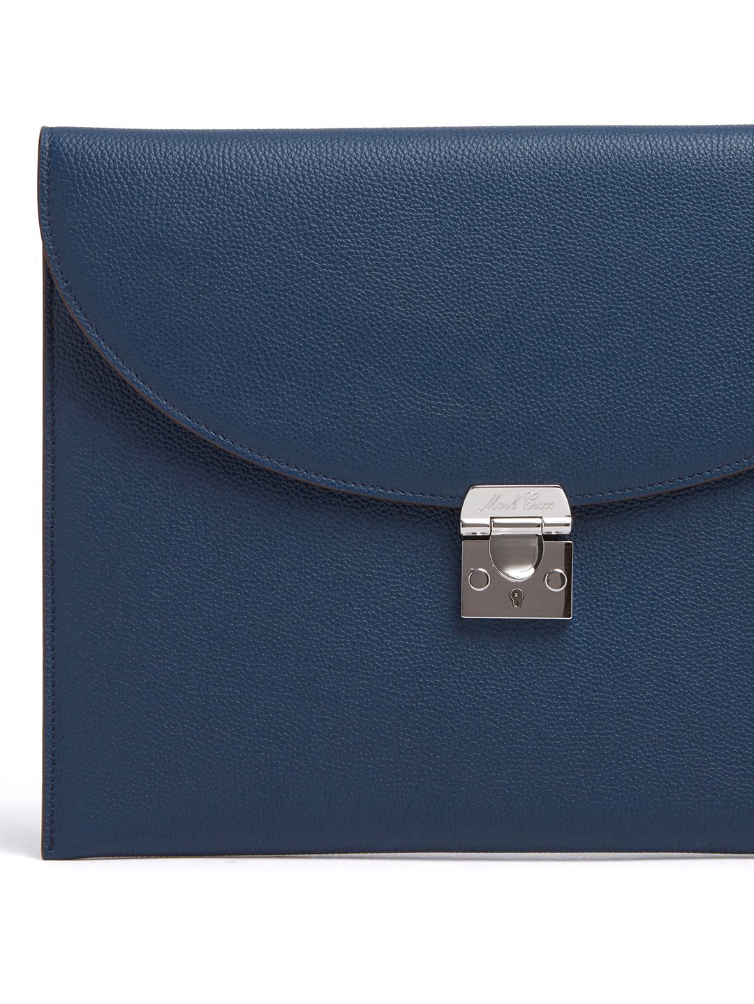Mark Cross Diver Leather Folio Tumbled Grain Navy Detail
