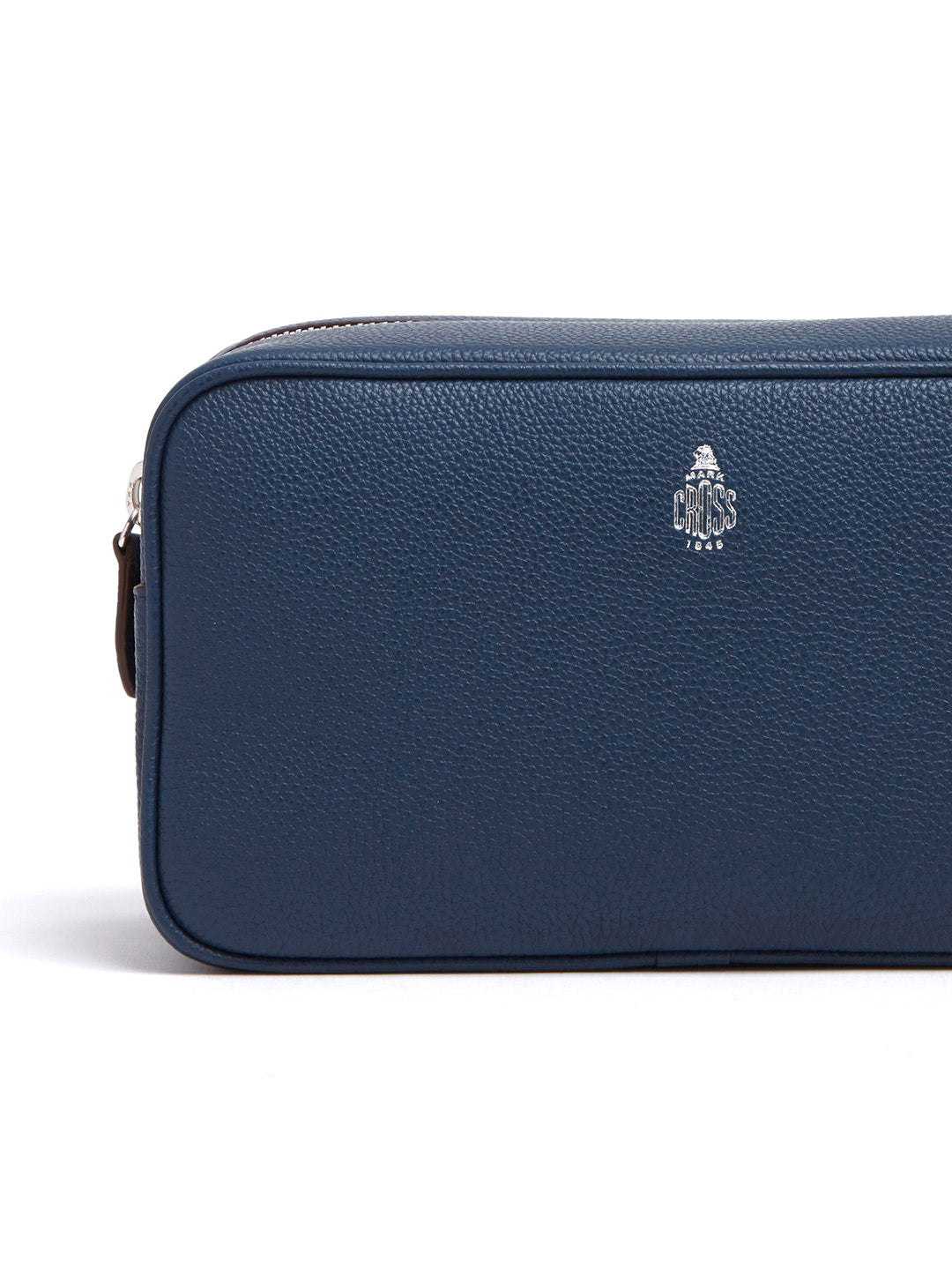 Mark Cross Leather Wash Bag Tumbled Grain Navy Detail