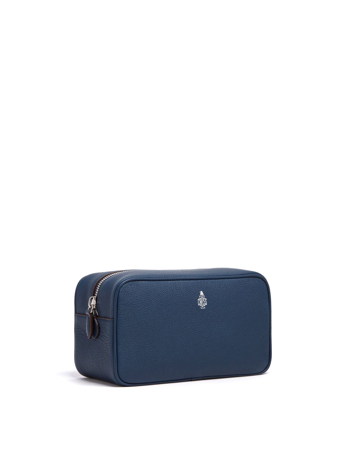 Mark Cross Leather Wash Bag Tumbled Grain Navy Side