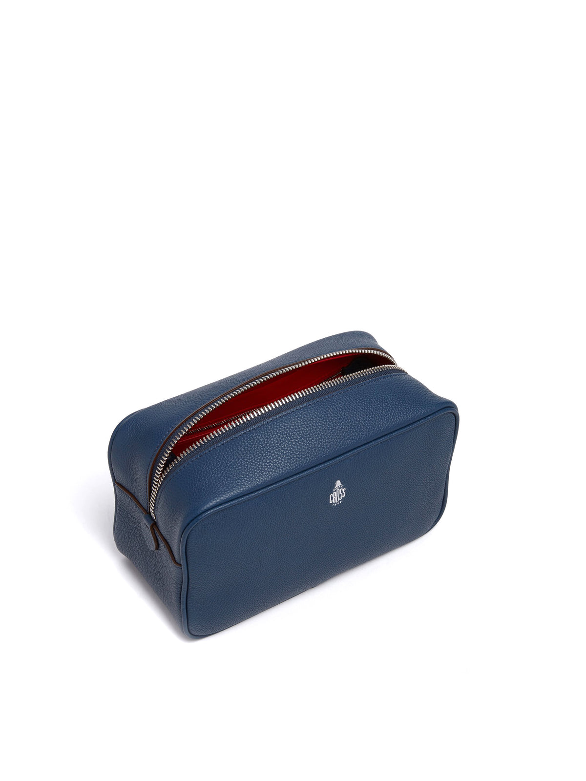 Mark Cross Leather Wash Bag Tumbled Grain Navy Interior