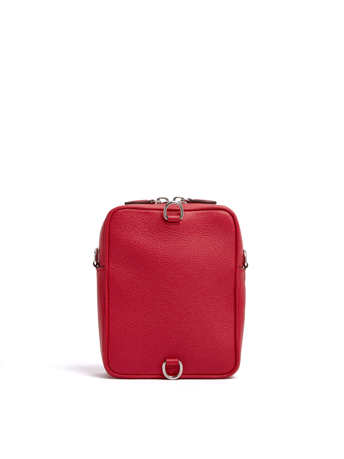 Mark Cross Scott Leather Crossbody Bag Tumbled Grain Mc Red Back