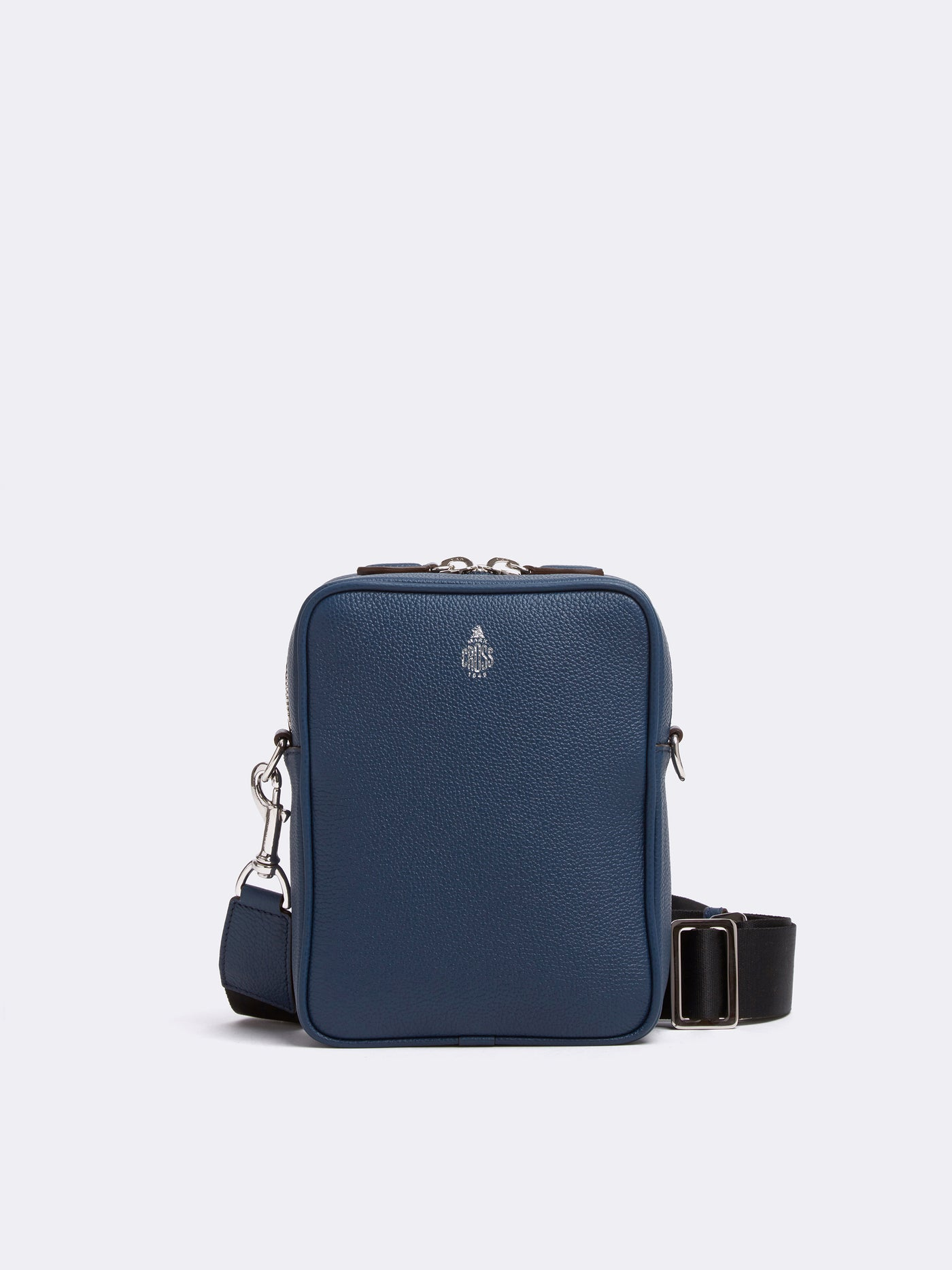 Mark Cross Scott Leather Crossbody Bag Tumbled Grain Navy Front
