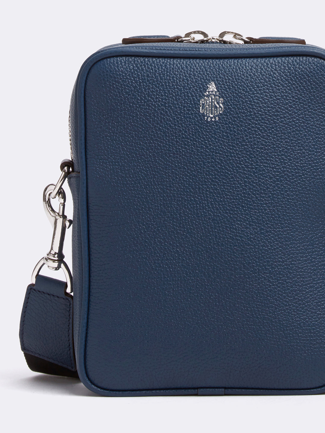 Mark Cross Scott Leather Crossbody Bag Tumbled Grain Navy Detail