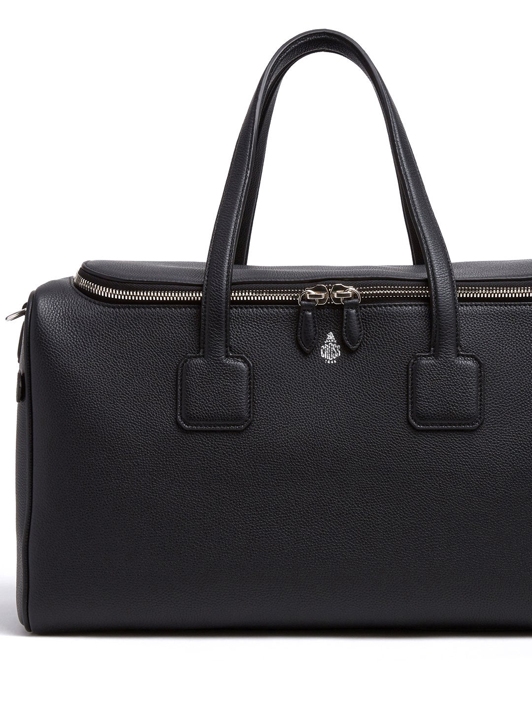 Mark Cross Henry Leather Sports Duffle Bag Tumbled Grain Black Detail