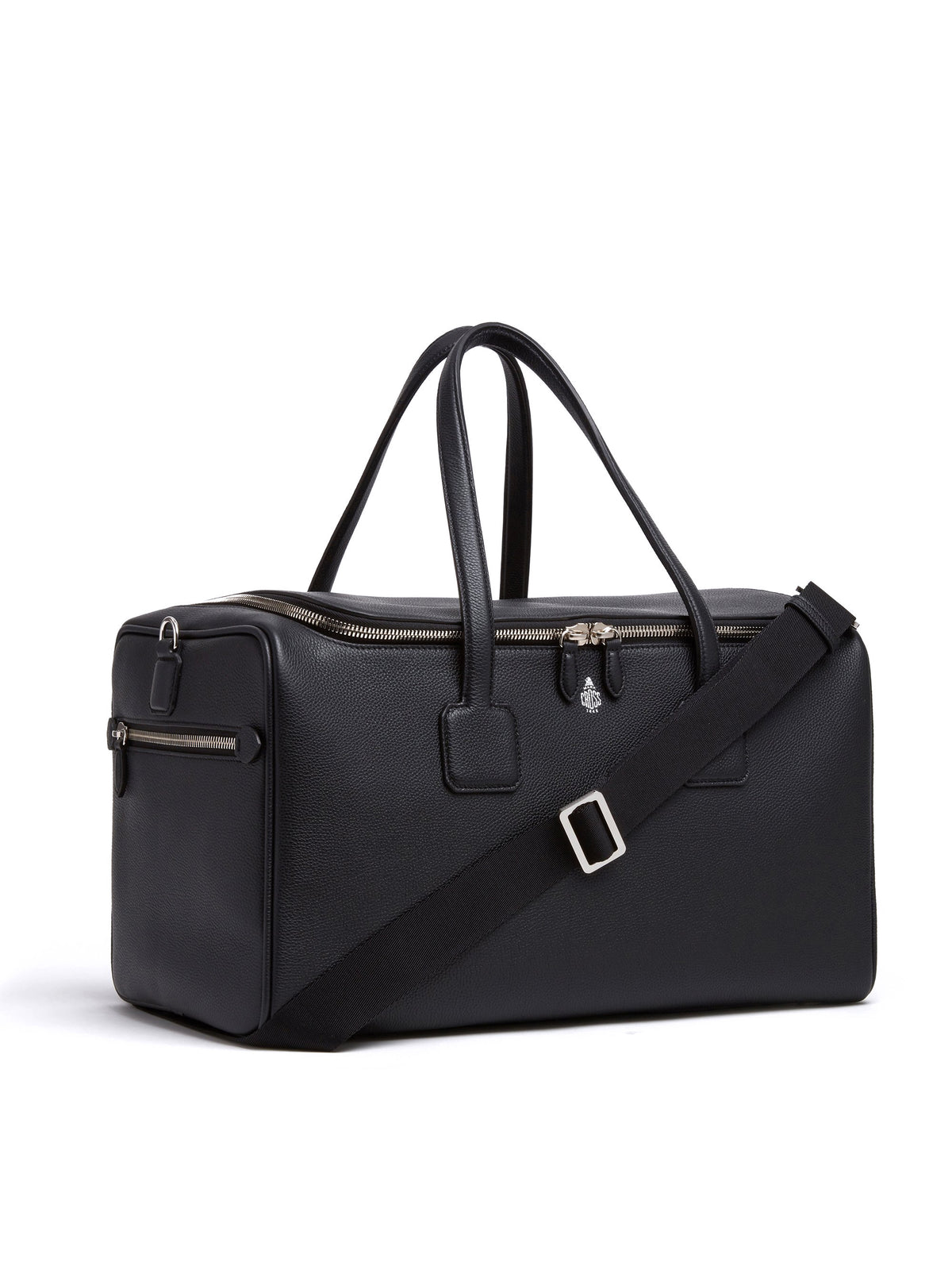 Mark Cross Henry Leather Sports Duffle Bag Tumbled Grain Black Side