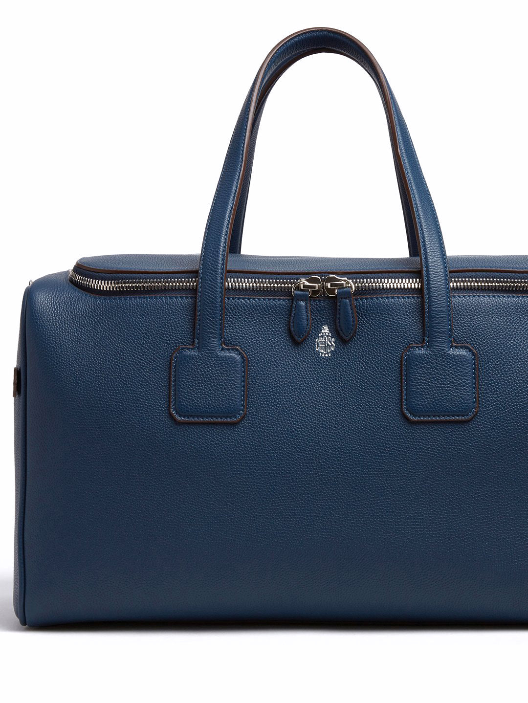 Mark Cross Henry Leather Sports Duffle Bag Tumbled Grain Navy Detail