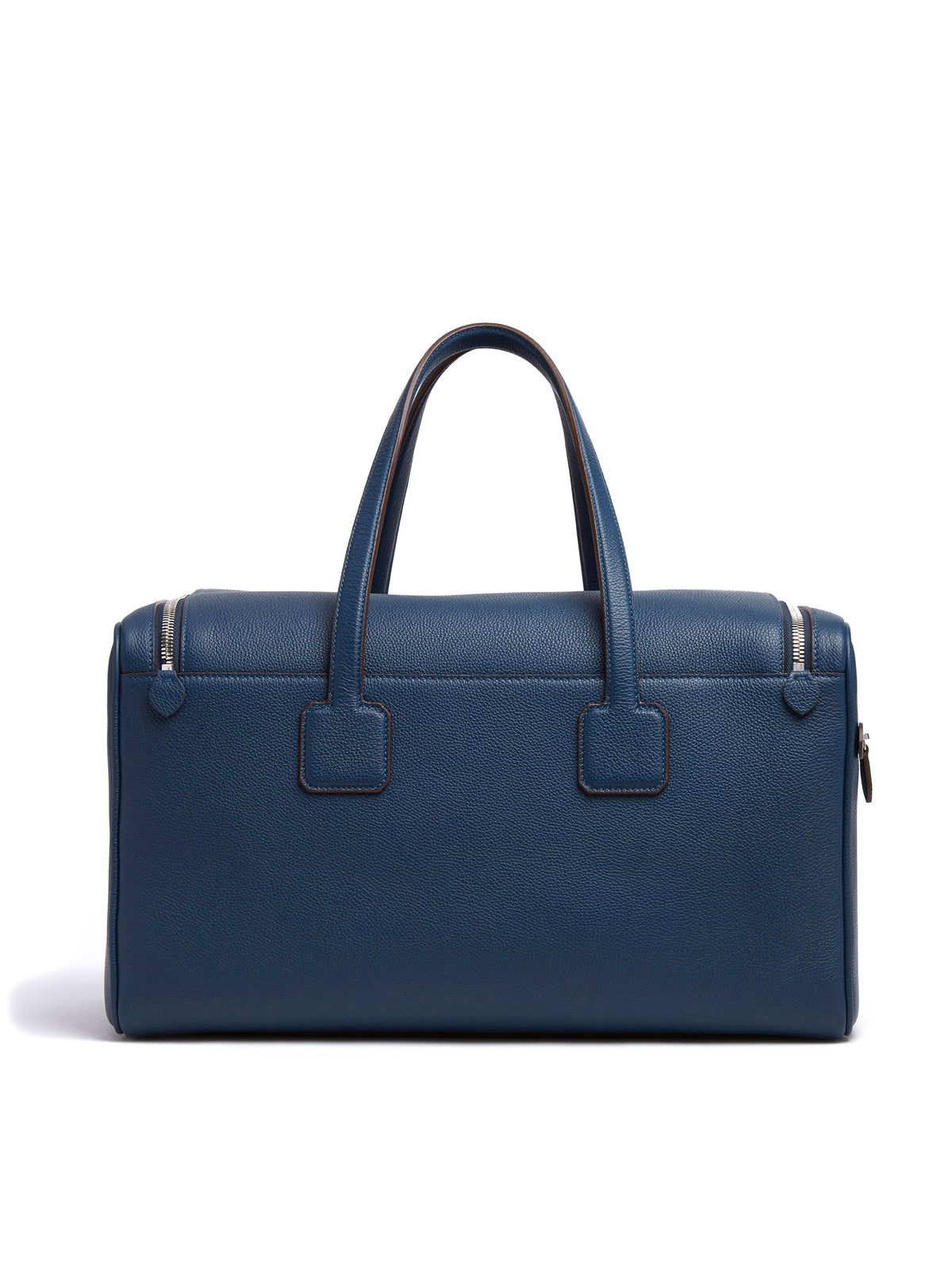 Mark Cross Henry Leather Sports Duffle Bag Tumbled Grain Navy Back