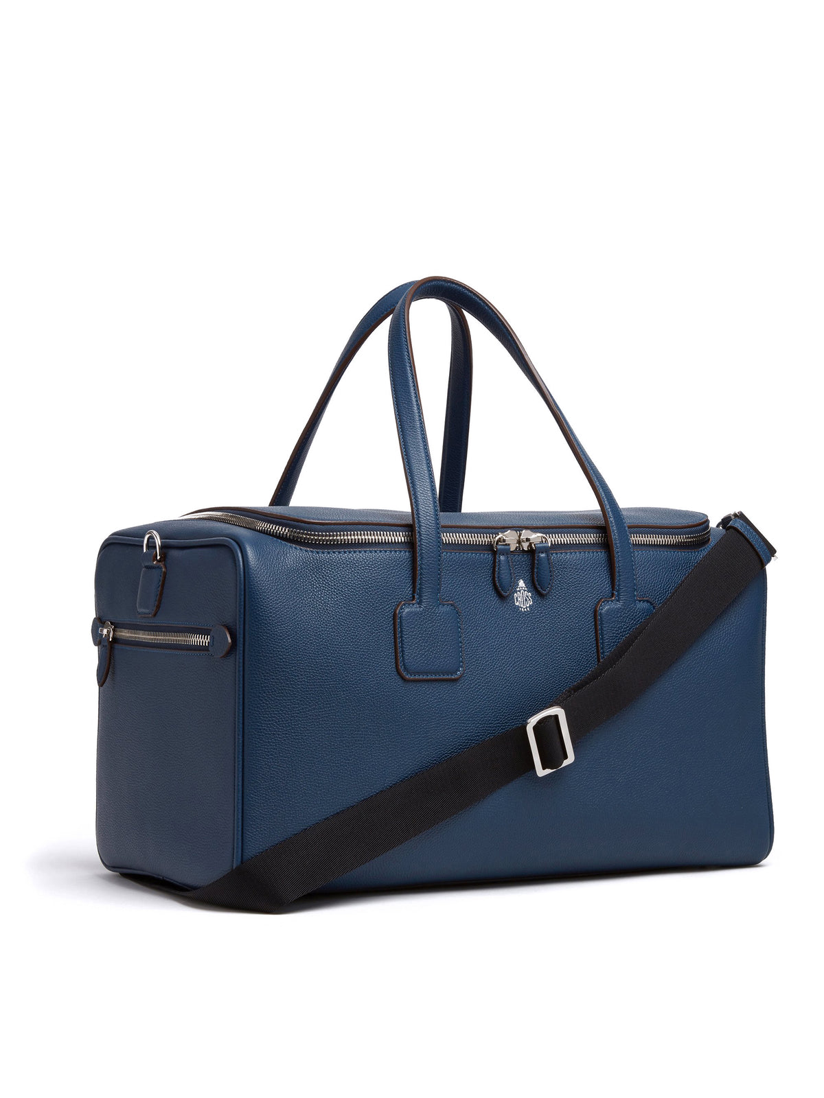 Mark Cross Henry Leather Sports Duffle Bag Tumbled Grain Navy Side