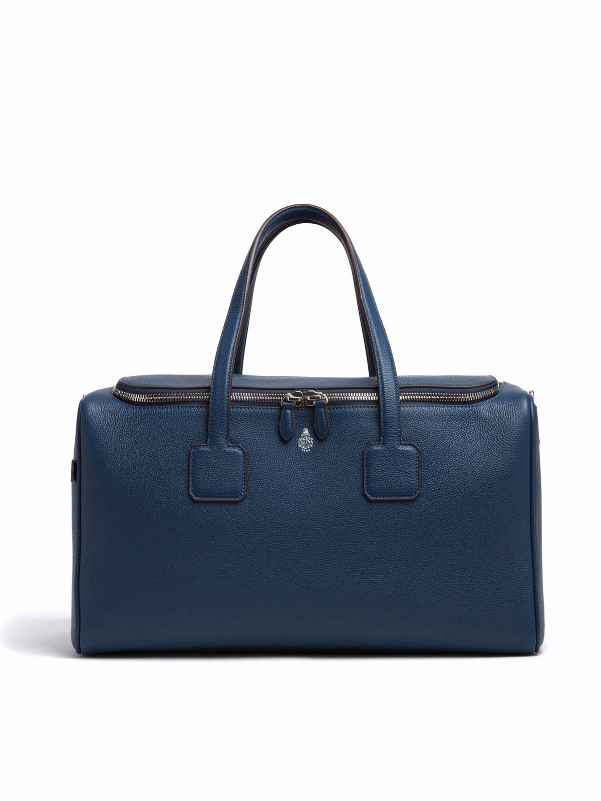 Mark Cross Henry Leather Sports Duffle Bag Tumbled Grain Navy Front