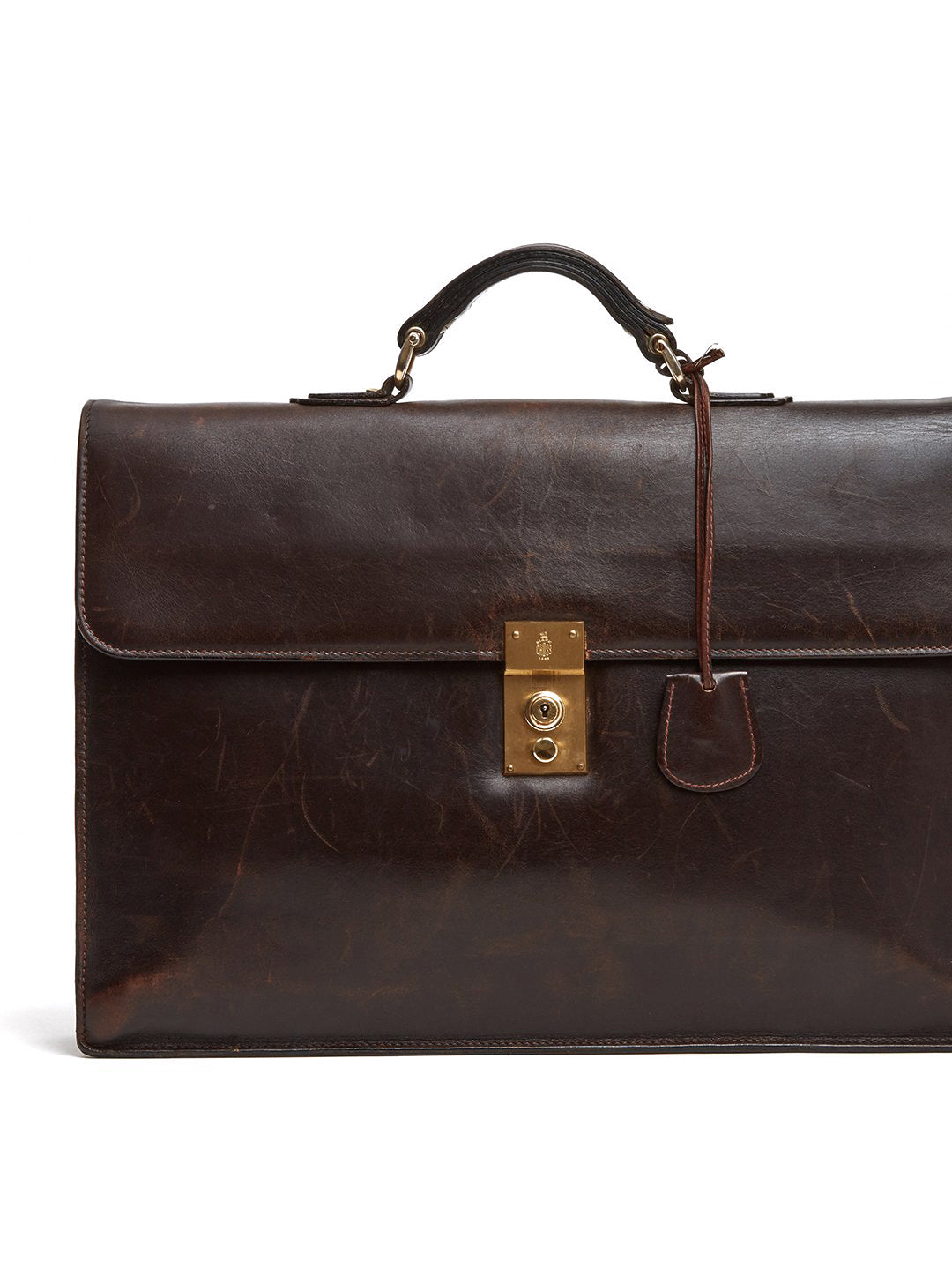 Mark Cross Vintage Leather Briefcase Leather Chocolate Detail