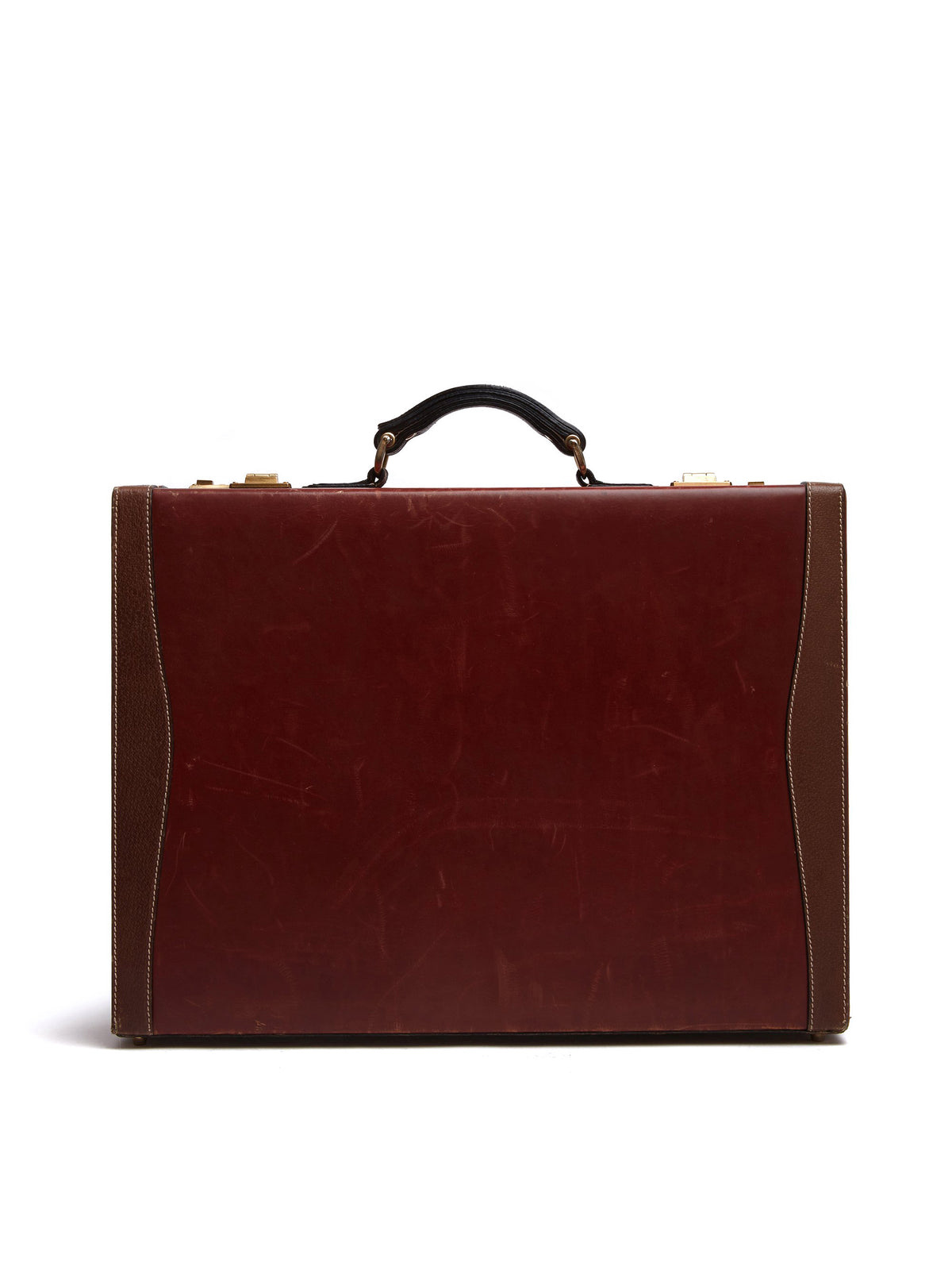 Mark Cross Vintage Leather Briefcase Leather Chocolate Front