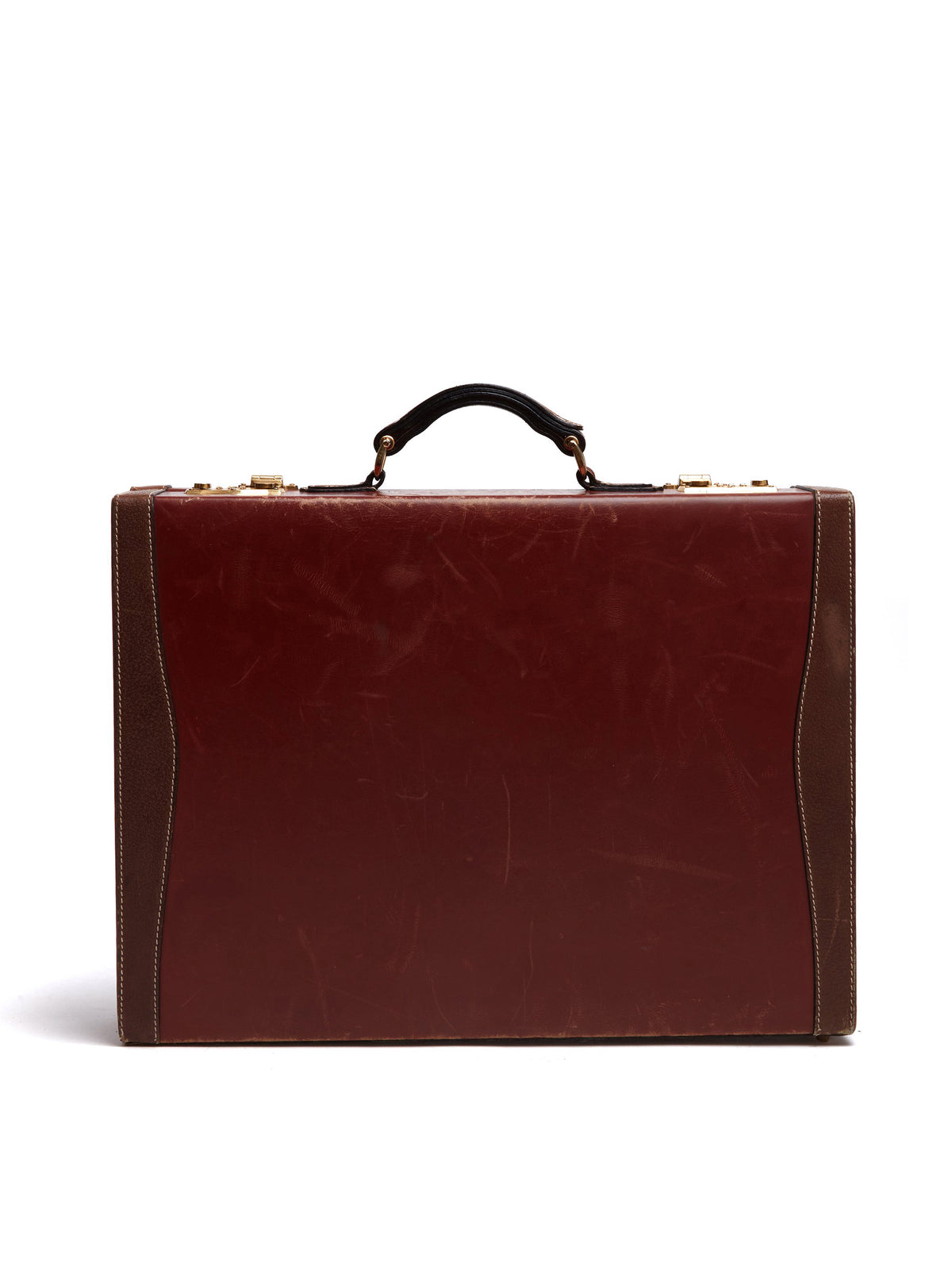 Mark Cross Vintage Leather Briefcase Leather Chocolate Back