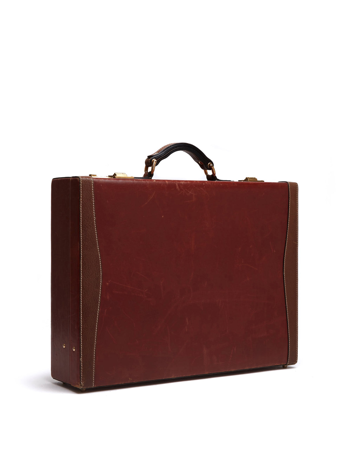 Mark Cross Vintage Leather Briefcase Leather Chocolate Side