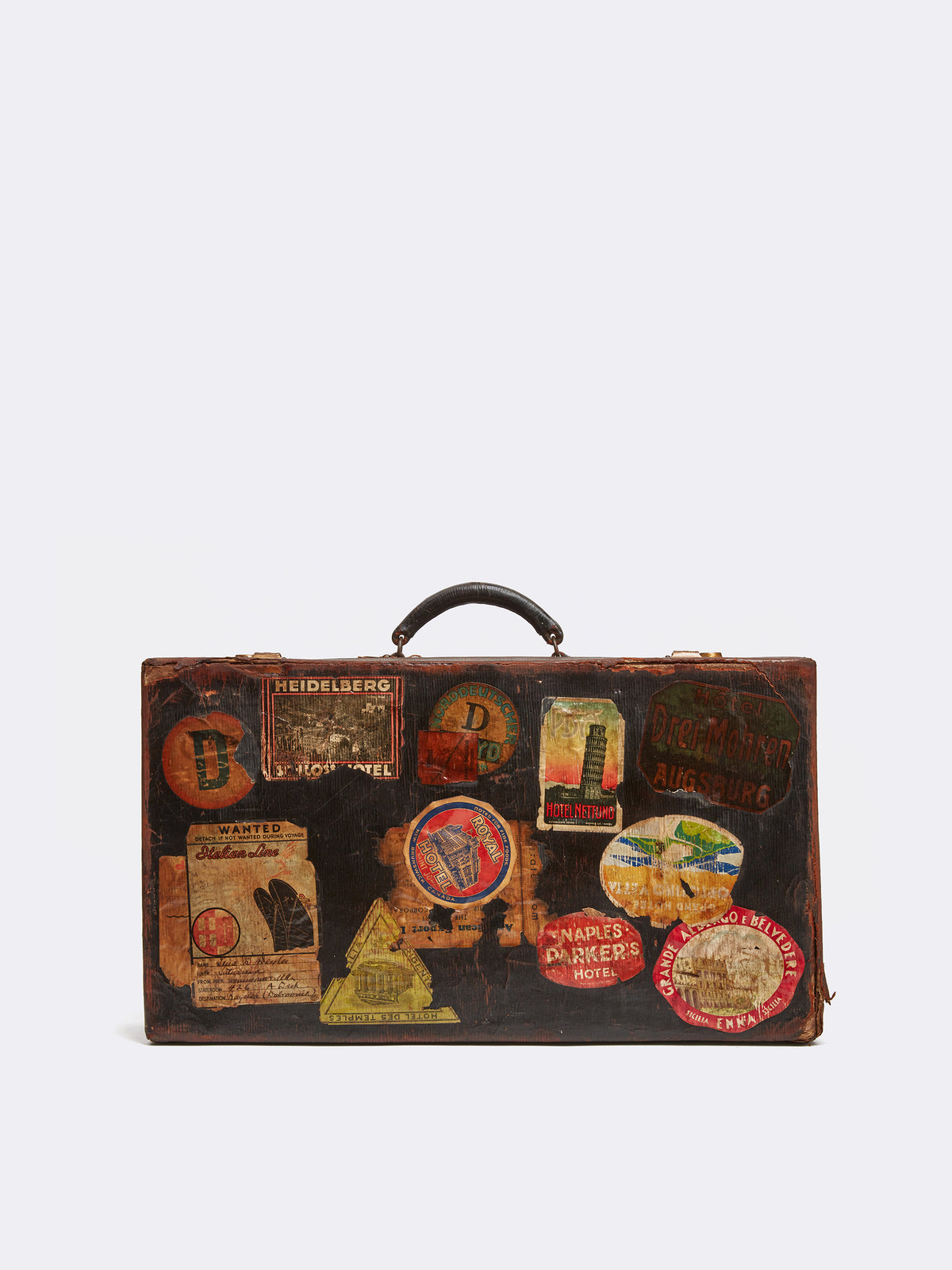 Mark Cross Archive Antique Leather Suitcase Chocolate Front